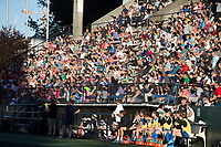 Seattle, WA - Saturday July 22, 2017: Seattle Reign FC bench and crowd during a regular season National Women's Soccer League (NWSL) match between the Seattle Reign FC and Sky Blue FC at Memorial Stadium.