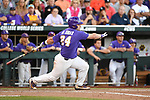OMAHA, NE - JUNE 26: Beau Jordan (24) of Louisiana State University drives in two runs with a single against the University of Florida during the Division I Men's Baseball Championship held at TD Ameritrade Park on June 26, 2017 in Omaha, Nebraska. The University of Florida defeated Louisiana State University 4-3 in game one of the best of three series. (Photo by Jamie Schwaberow/NCAA Photos via Getty Images)