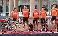 Euskaltel-Euskadi's Igor Anton (l) during the official presentation of La Vuelta 2012. . August 17,2012. (ALTERPHOTOS/Alfaqui/Paola Otero) /NortePhoto.com<br />