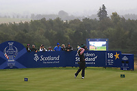 Suzann Pettersen of Team Europe on the 18th tee during Day 2 Fourball at the Solheim Cup 2019, Gleneagles Golf CLub, Auchterarder, Perthshire, Scotland. 14/09/2019.<br /> Picture Thos Caffrey / Golffile.ie<br /> <br /> All photo usage must carry mandatory copyright credit (© Golffile | Thos Caffrey)