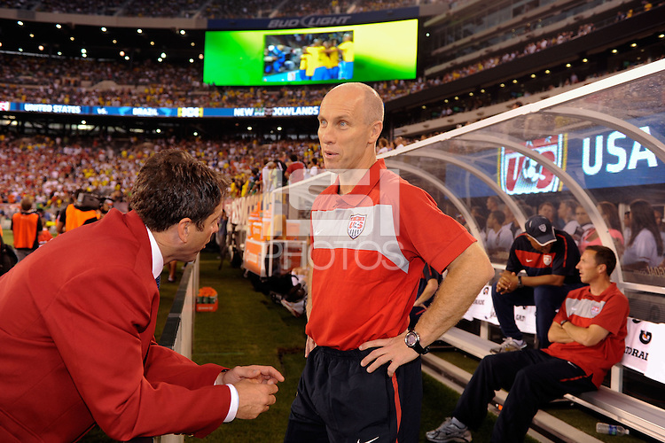 United States head coach Bob Bradley (R) talks with 2010 Hall of Fame inductee Preki Radosavljevic before the game. The men's national team of Brazil (BRA) defeated the United States (USA) 2-0 during an international friendly at the New Meadowlands Stadium in East Rutherford, NJ, on August 10, 2010.