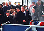 United States President George W. Bush talks with former First Lady Nancy Reagan at the Christening Ceremony for the U.S.S. Ronald Reagan at Newport News Shipbuilding, Newport News, Virginia on Sunday, March 4, 2001..Mandatory Credit: Eric Draper - White House via CNP