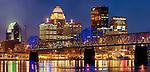 Louisville, skyline at dusk, Kentucky, USA.