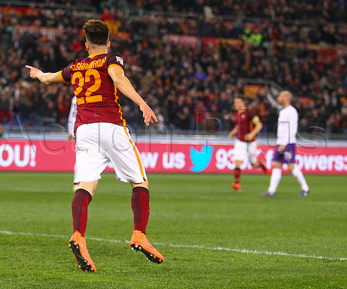 04.03.2016. Stadium Olimpico, Rome, Italy.  Serie A football league. AS Roma versus Fiorentina. El SHAARAWY STEPHAN goal celebration