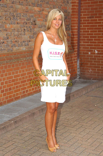 DANIELLE LLOYD.Photocall for K.I.S.S. (Keep It Safe & Secure) for mobile phones, London, England..July 18th, 2007.full length white tank top shorts beige peeptoe peep toe shoes.CAP/CAS.©Bob Cass/Capital Pictures