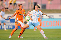 Ella Masar (3) of the Chicago Red Stars attempts to play the ball behind her back. The Chicago Red Stars defeated Sky Blue FC 2-1 during a Women's Professional Soccer (WPS) match at Yurcak Field in Piscataway, NJ, on August 01, 2010.