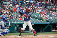 Frisco RoughRiders Andretty Cordeo (4) bats during a Texas League game against the Midland RockHounds on May 22, 2019 at Dr Pepper Ballpark in Frisco, Texas.  (Mike Augustin/Four Seam Images)