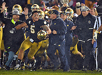 Manti Te'o, Brian Kelly and the bench celebrate as ND's victory is official.