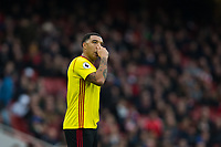 Watford's Troy Deeney looks dejected <br /> <br /> Photographer Craig Mercer/CameraSport<br /> <br /> The Premier League - Sunday 11th March 2018 - Arsenal v Watford - The Emirates - London<br /> <br /> World Copyright &copy; 2018 CameraSport. All rights reserved. 43 Linden Ave. Countesthorpe. Leicester. England. LE8 5PG - Tel: +44 (0) 116 277 4147 - admin@camerasport.com - www.camerasport.com