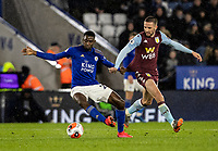 Leicester City's Wilfred Ndidi competing with Aston Villa's Conor Hourihane (right) <br /> <br /> Photographer Andrew Kearns/CameraSport<br /> <br /> The Premier League - Leicester City v Aston Villa - Monday 9th March 2020 - King Power Stadium - Leicester<br /> <br /> World Copyright © 2020 CameraSport. All rights reserved. 43 Linden Ave. Countesthorpe. Leicester. England. LE8 5PG - Tel: +44 (0) 116 277 4147 - admin@camerasport.com - www.camerasport.com