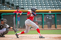 James Jones (9) of the Tacoma Rainiers at bat against the Salt Lake Bees in Pacific Coast League action at Smith's Ballpark on May 7, 2015 in Salt Lake City, Utah. The Bees defeated the Rainiers 11-4 in the completion of the game that was suspended due to weather on May 6, 2015.(Stephen Smith/Four Seam Images)