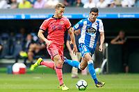 Deportivo de la Coruna's Juanfran Moreno (r) and Real Sociedad's Sergio Canales during La Liga match. September 10,2017.  *** Local Caption *** © pixathlon<br /> Contact: +49-40-22 63 02 60 , info@pixathlon.de