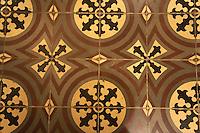 Tiled floor in the Casa Frederick Catherwood in Merida, Yucatan, Mexico.