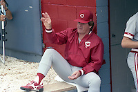 Cincinnati Reds manager Pete Rose during a spring training game against the Boston Red Sox circa 1989 at Chain of Lakes Park in Winter Haven, Florida.  (MJA/Four Seam Images)