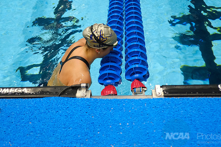 INDIANAPOLIS, IN - MARCH 18: Kathleen Baker swimming for California after the 200-meter backstroke during the Division I Women's Swimming & Diving Championships held at the Indiana University Natatorium on March 18, 2017 in Indianapolis, Indiana. (Photo by A.J. Mast/NCAA Photos via Getty Images)