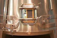Stainless steel fermentation tanks specially designed with conical shape to increase extraction of the red wines, detail Domaine Vignoble des Verdots Conne de Labarde Bergerac Dordogne France