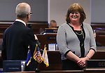 Nevada Senate Majority Leader Mo Denis, D-Las Vegas, introduces Carson City Library Director Sara Jones on the Senate floor at the Legislative Building in Carson City, Nev., on Tuesday, April 16, 2013. .Photo by Cathleen Allison
