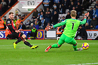 Ryan Fraser of AFC Bournemouth scores the second goal past Huddersfield Town keeper Jonas Lossl  during AFC Bournemouth vs Huddersfield Town, Premier League Football at the Vitality Stadium on 4th December 2018