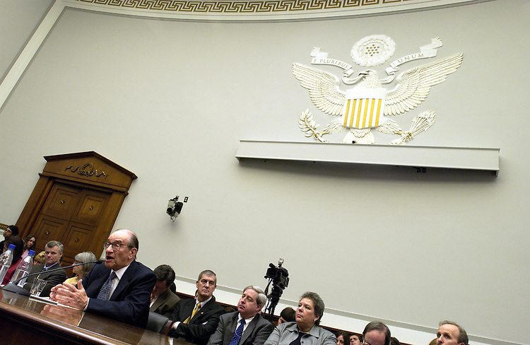 Federal Reserve Chairman Alan Greenspan testifies during the hearing on the monetary policy report full committee hearing on the Federal Reserve's monetary policy report..