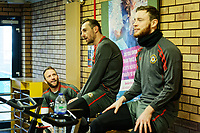 Pictured: (L-R) Sean Rigg, Paul Hayes and Mark O'Brien work out in the reception area of the stadium. Thursday 18 January 2018<br /> Re: Players and staff of Newport County Football Club prepare at Newport Stadium, for their FA Cup game against Tottenham Hotspur in Wales, UK