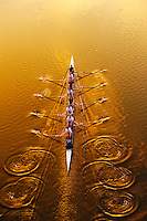 700-021845  Model Released<br /> Overhead View of Rowing  ( eights ) at Sunset