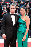 U.S. actor Matt Damon, left, and his wife Luciana Barroso pose on the red carpet for the screening of the movie 'Suburbicon' at the 74th Venice Film Festival, Venice Lido, September 2, 2017.<br /> UPDATE IMAGES PRESS/Marilla Sicilia<br /> <br /> *** ONLY FRANCE AND GERMANY SALES ***