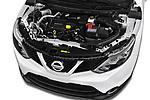 Car stock 2014 Nissan Qashqai Tekna 5 Door SUV engine high angle detail view