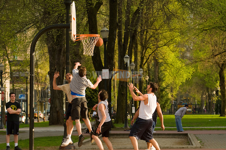 People Playing Basketball in the North Park Blocks, Portland