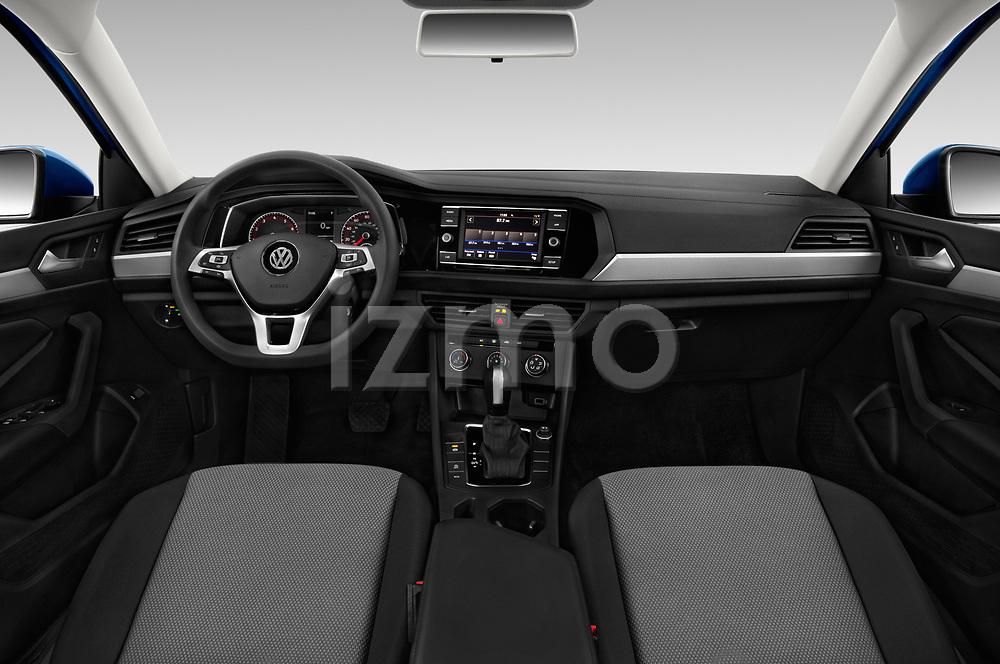 Stock photo of straight dashboard view of a 2019 Volkswagen Jetta S 4 Door Sedan