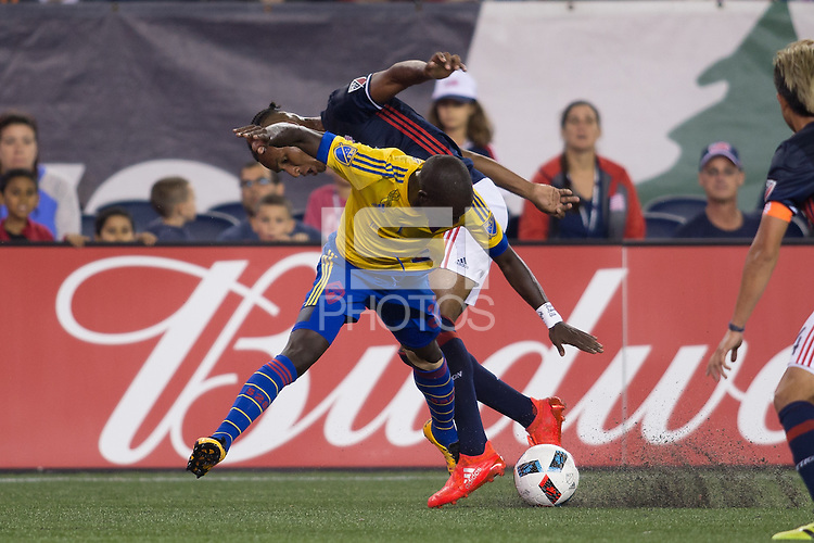 Foxborough, Massachusetts - September 3, 2016:  The New England Revolution (blue and white) beat the Colorado Rapids  (yellow and blue) 2-0 in a Major League Soccer (MLS) match at Gillette Stadium.