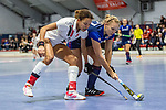 Mannheim, Germany, January 03: During the 1. Bundesliga women indoor hockey match between TSV Mannheim and Mannheimer HC on January 3, 2020 at Primus-Valor Arena in Mannheim, Germany. Final score 4-4. (Photo by Dirk Markgraf / www.265-images.com) *** Stine Kurz #27 of +m+, Tara Duus #17 of TSV Mannheim