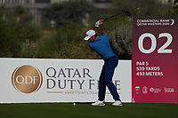 Julien Guerrier (FRA) on the 2nd during Round 1 of the Commercial Bank Qatar Masters 2020 at the Education City Golf Club, Doha, Qatar . 05/03/2020<br /> Picture: Golffile | Thos Caffrey<br /> <br /> <br /> All photo usage must carry mandatory copyright credit (© Golffile | Thos Caffrey)