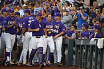 OMAHA, NE - JUNE 26: Antoine Duplantis (20) of Louisiana State University celebrates with his teammates after scoring a solo home run against the University of Florida during the Division I Men's Baseball Championship held at TD Ameritrade Park on June 26, 2017 in Omaha, Nebraska. The University of Florida defeated Louisiana State University 4-3 in game one of the best of three series. (Photo by Justin Tafoya/NCAA Photos via Getty Images)