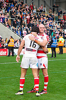 Picture by Alex Whitehead/SWpix.com - 30/09/2017 - Rugby League - Betfred Super League Million Pound Game - Leigh Centurions v Catalans Dragons - Leigh Sports Village, Leigh, England - Leigh's Cory Patterson and Antoni Maria console each other after the loss.