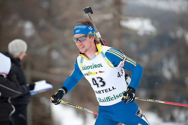 MARTELL-VAL MARTELLO, ITALY - FEBRUARY 02: JONSSON Magnus (SWE) during the Men 10 km Sprint at the IBU Cup Biathlon 6 on February 02, 2013 in Martell-Val Martello, Italy. (Photo by Dirk Markgraf)