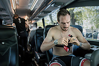 pre-race prep on the teambus for John Degenkolb (DEU/Trek-Segafredo)<br /> <br /> 115th Paris-Roubaix 2017 (1.UWT)<br /> One Day Race: Compiègne › Roubaix (257km)
