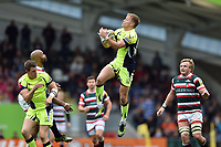 Mike Haley of Sale Sharks claims the ball in the air. Aviva Premiership match, between Leicester Tigers and Sale Sharks on April 29, 2017 at Welford Road in Leicester, England. Photo by: Patrick Khachfe / JMP