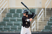 Max Dutto (6) of the Kannapolis Intimidators at bat against the Hickory Crawdads in game one of a double-header at Kannapolis Intimidators Stadium on May 19, 2017 in Kannapolis, North Carolina.  The Crawdads defeated the Intimidators 5-4.  (Brian Westerholt/Four Seam Images)