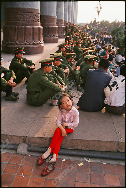 Pro-democracy demonstrators near Tiananmen Square. Beijing, China, May 1989