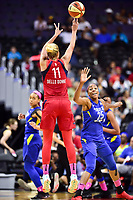 Washington, DC - August 12, 2018: Washington Mystics All-Star guard Elena Delle Donne (11) hits a jump shot over Dallas Wings forward Glory Johnson (25) during game between the Washington Mystics and the Dallas Wings at the Capital One Arena in Washington, DC. (Photo by Phil Peters/Media Images International)