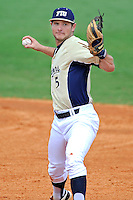 18 March 2012:  FIU infielder/outfielder Tyler James Shantz (5) throws to first as the Florida Atlantic University Owls defeated the FIU Golden Panthers, 9-3, at University Park in Miami, Florida.