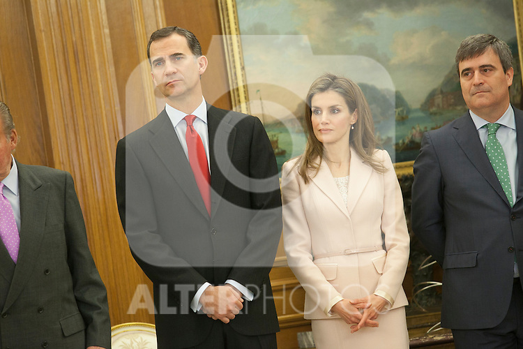 Spanish Royals, Prince Felipe of Spain and Princess Letizia of Spain attend the Sports Merit Royal Order Great Cross award to paralympic swimmer Maria Teresa Perales at Zarzuela Palace in Madrid, Spain. April 01, 2014. (ALTERPHOTOS/Victor Blanco)
