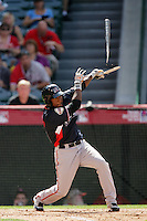 Francisco Peguero of the San Francisco Giants organization participates in the Futures Game at Angel Stadium in Anaheim,California on July 11, 2010. Photo by Larry Goren/Four Seam Images