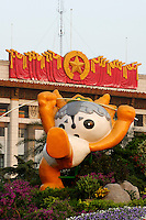 Tian'anmen Square (Place of Heavenly Peace). National Museum. Olympic mascots flower display. Yingying the Tibetan antelope.