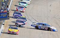 Sept. 20, 2008; Dover, DE, USA; Nascar Nationwide Series driver Bryan Clauson crashes during the Camping World RV 200 at Dover International Speedway. Mandatory Credit: Mark J. Rebilas-
