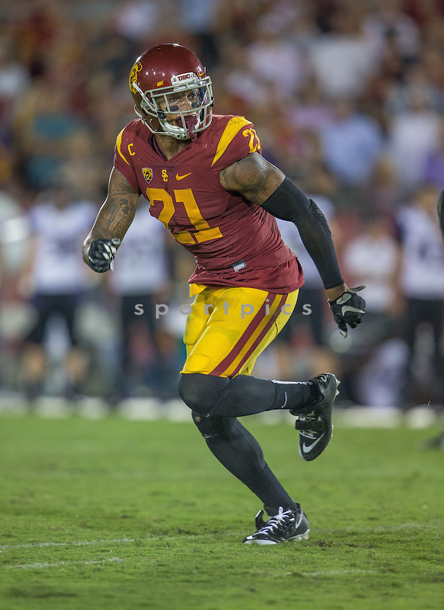 USC Trojans Su'a Cravens (21) during a game against the Washington Huskies on October 9, 2015 at the Coliseum in Los Angeles, CA. Washington beat USC 17-12.