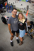"Saturday, June 21 2009.  Pacific Beach, San Diego, CA, USA:  Marcus Eriksen and Anna Cummins of the environmental group Algalita Marine Research Foundation (AMRF) arrive in PB one day after completing a six-week journey from Vancouver to TJ to raise awareness about marine debris.   The couple spoke at 40 different events along the way and presented 5 mayors with samples of the ""plastic soup"" that they collected form a remote part of the Pacific Ocean known as the North Pacific Gyre.  The confluence of currents in that area of the Pacific has created a high concentration of marine debris - particularly plastics - that is clogging the area, endangering marine life and entering our food chain."