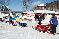 Rachel Scordis checks in at the Grayling checkpoint during Iditarod 2009