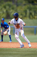 Charlotte Stone Crabs Zach Rutherford (15) leads off during a Florida State League game against the Dunedin Blue Jays on April 17, 2019 at Charlotte Sports Park in Port Charlotte, Florida.  Charlotte defeated Dunedin 4-3.  (Mike Janes/Four Seam Images)