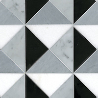 Christopher 3, a hand-cut stone mosaic, shown in honed Thassos, Cararra, Bardiglio and Nero Marquina, is part of the Illusions™ Collection by Sara Baldwin.